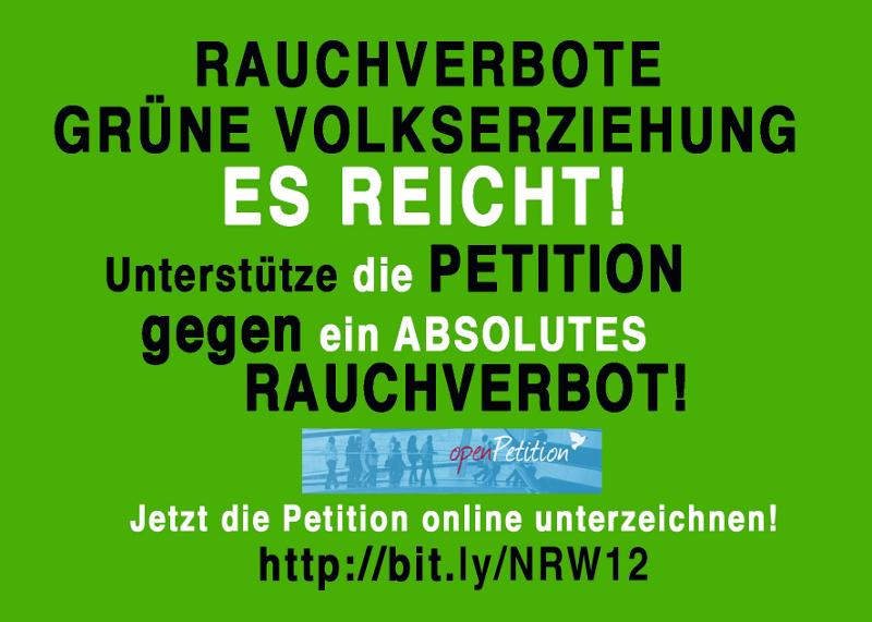 Petition gegen ein totales Rauchverbot in NRW